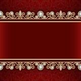 Quadro do ouro com beiras da joia no fundo vermelho Imagens de Stock