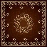 Quadro do ouro com elementos florais do vintage Foto de Stock Royalty Free