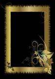 Quadro do ouro com ornamento floral Fotografia de Stock Royalty Free
