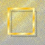 Quadro do ouro com sombra, no fundo transparente isolado, com brilho do ouro da poeira de ouro Ano novo festivo, Natal Vetor ilustração stock