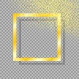 Quadro do ouro com sombra, no fundo transparente isolado, com brilho do ouro da poeira de ouro Ilustração do vetor ilustração stock