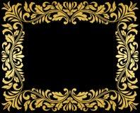Quadro do ouro do vintage com floral ilustração stock