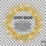Quadro do ouro ou beira redonda de estrelas douradas do scatter aleatório no tra Fotos de Stock Royalty Free