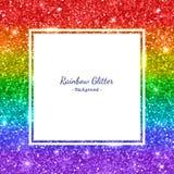 Quadro do quadrado do fundo do brilho do arco-íris, listras horizontais Vetor ilustração royalty free