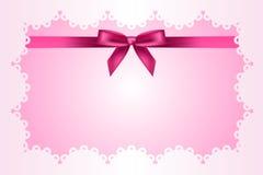Quadro do rosa de bebê com laço Fotografia de Stock Royalty Free