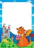 Quadro 1 do tema do bolo da terra arrendada do dragão ilustração stock