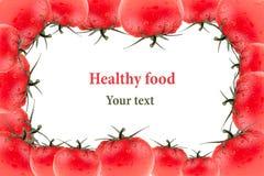 Quadro do tomate em um fundo branco Grupo de tomates frescos Macro Textura Isolado Teste padrão do tomate Imagens de Stock Royalty Free