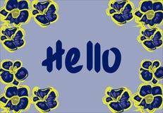 Quadro do vetor com orquídeas e para assinar 'olá! ' ilustração stock