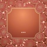 Quadro do vetor com rosas da silhueta Foto de Stock Royalty Free
