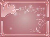 Quadro do vetor com um anjo e corações Imagem de Stock Royalty Free