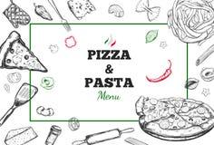 Quadro do vetor da pizza e da massa Fotos de Stock Royalty Free