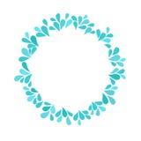 Quadro do vetor do respingo Molhe gotas azuis com espaço vazio para seu texto Fotografia de Stock Royalty Free