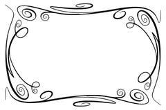 Quadro do vetor do Flourish Retângulo com squiggles, piruetas e enfeites para a imagem e os elementos do texto Preto tirado mão Imagem de Stock