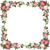 Quadro do vintage com rosas cor-de-rosa. ilustração royalty free