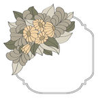 Quadro do vintage decorado com as flores tiradas mão Imagem de Stock Royalty Free