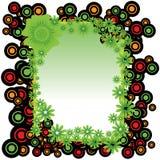 Quadro dos círculos e das flores Imagens de Stock