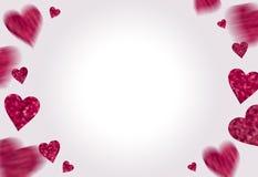 Quadro dos corações cor-de-rosa no fundo branco Fotos de Stock Royalty Free