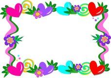 Quadro dos corações, das espirais, e das flores Imagem de Stock Royalty Free