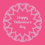 """Quadro dos corações e das felicitações entrelaçados """"` feliz s Daydo Valentim"""" Fotografia de Stock"""