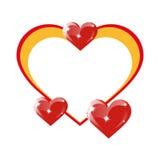 Quadro dos corações em um fundo branco Imagens de Stock Royalty Free