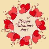 Quadro dos corações para o projeto Mensagem do dia de Valentim ilustração stock