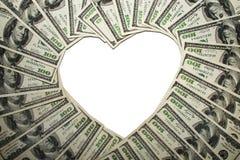 Quadro dos dólares no formulário do coração, fotografia de stock royalty free