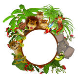 Quadro dos desenhos animados dos animais Foto de Stock