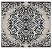 Quadro dos elementos do ornamento, floral de prata do vintage Fotografia de Stock Royalty Free