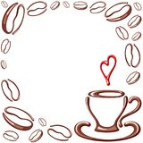 Quadro dos feijões de café com copo Fotografia de Stock