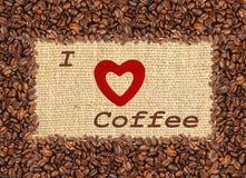 Quadro dos feijões de café do estilo do tom do vintage, eu amo o projeto do café Imagem de Stock
