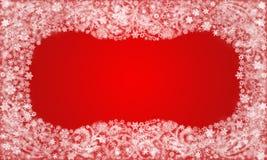 Quadro dos flocos de neve e dos testes padrões da geada no fundo vermelho Imagens de Stock Royalty Free