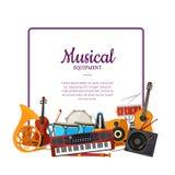 Quadro dos instrumentos musicais dos desenhos animados do vetor Fundo da música ilustração stock