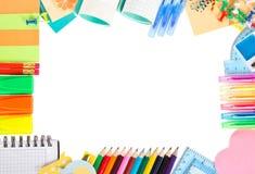 Quadro dos lápis da cor, penas de bola e Fotografia de Stock Royalty Free