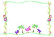 Quadro dos pássaros e palmas e plantas tropicais Fotografia de Stock Royalty Free