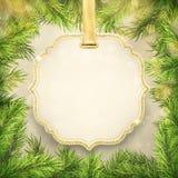 Quadro dos ramos de árvore do Natal com etiqueta, decoração do quadro da etiqueta para a promoção da compra da venda do feriado d ilustração stock