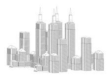 Quadro dos whitebuildings ilustração stock
