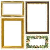 Quadro dourado ajustado do vintage isolado no fundo branco Foto de Stock Royalty Free