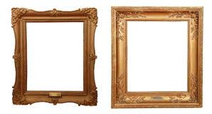 Quadro dourado antigo isolado no fundo branco imagem de stock
