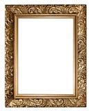 Quadro dourado antigo isolado no fundo branco Foto de Stock Royalty Free