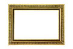 Quadro dourado antigo isolado no fundo branco Frame do ouro isolado Quadro dourado isolado Quadro dourado do ret?ngulo isolado fotografia de stock royalty free