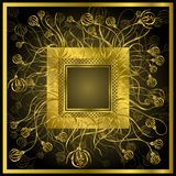 Quadro dourado com flores Fotografia de Stock Royalty Free