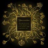 Quadro dourado com flores Fotos de Stock Royalty Free