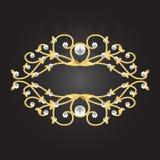 Quadro dourado com pérolas ilustração royalty free