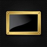 Quadro dourado com parafusos Fotos de Stock Royalty Free