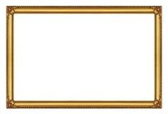 Quadro dourado isolado no fundo branco com trajeto de grampeamento Fotos de Stock