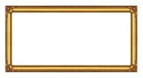 Quadro dourado isolado no fundo branco com trajeto de grampeamento Fotos de Stock Royalty Free