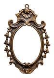 Quadro dourado oval velho, isolado no branco Imagem de Stock Royalty Free