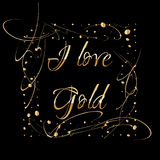 Quadro dourado quadrado feito das gotas do ouro isoladas no fundo preto Beira luxuosa do vintage, etiqueta, elemento do projeto d Foto de Stock