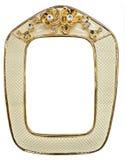 Quadro dourado rico da porcelana embutido com os cristais de rocha foto de stock