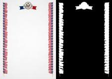 Quadro e beira com bandeira e brasão EUA ilustração 3D Foto de Stock Royalty Free